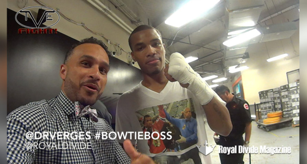 "Dennis ""Bowtie Boss"" Verges interviews Ed Brown at a HITZ Boxing event at the Horseshoe Casino in Hammond, IN."